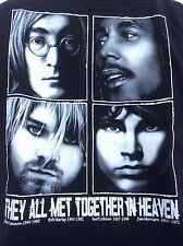They all met together in heaven Lennon Marley Cobain Morrison t shirt sz L large