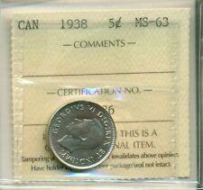 ICCS Canada 1938 5 cents MS-63 SU 486
