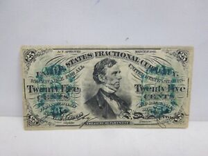 1863 US 25 CENT FRACTIONAL CURRENCY NOTE