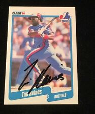 TIM ROCK RAINES 1990 FLEER AUTOGRAPHED SIGNED AUTO BASEBALL CARD 359 EXPOS