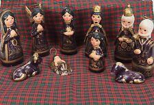 Christmas Nativity Set Tonala Creche Purple Mexican/Mexico Ceramic Folk Art 10pc