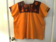 VINTAGE MEXICO EMBROIDERED ORANGE TOP BLOUSE