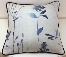 "16"" Cushion cover in Laura Ashley Dragonfly Ombre Chalk Blue Piped Navy Blue"