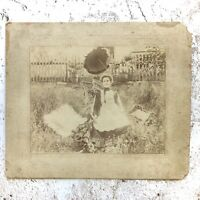 Victorian Cabinet Card Woman with her Ghostly Baby and Dog Outside