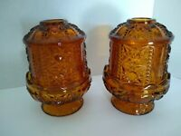 Pair of Indiana Glass Amber Gold Stars And Bars Fairy Light Candle Lamp