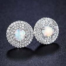 Multi Gems Platinum Plated White Fire Opal Zircon Stud Earrings Wedding Jewelry