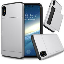 For iPhone X XS 8 7 6 Plus 5 5E Shockproof Slide Wallet Card Holder Case Cover