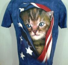 The Mountain Blue XL T-Shirt Kitten Wrapped in Flag Patriotic Cotton