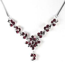Sterling Silver 925 Genuine Natural Rhodolite Garnet Cluster Necklace 18.25 Inch