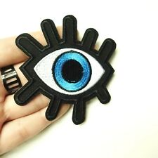 Blue Hamsa Eye, Third Eye Open Patch Iron-On Patch Embroidered Applique Motif
