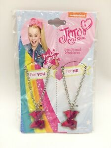 Nickelodeon Jojo Siwa Best Friend Necklaces Pink Hair Bow For You and For Me NEW