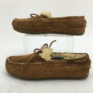L.L Bean Wicked Good Moccasins Mens 7D Tan Suede Sheepskin Casual Slip On Shoes