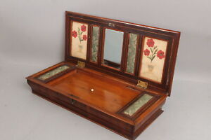 Antique 1830s Empire Sewing Box Fitted Interior, Miniature Embroidery