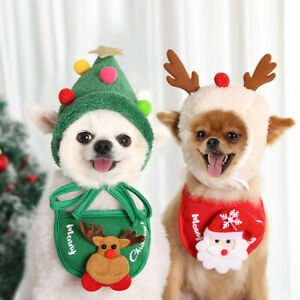 Pet Puppy Costume Dog Cat Reindeer Tree Hat Bib Clothes Xmas Fancy Dress Up