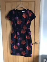 LK Bennett Dress Size 8 Fitted Navy With Red And Pink Flowers