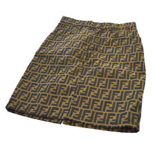 Fendi Vintage Zucca Pattern Skirt Brown Black Italy Authentic Ak31742f