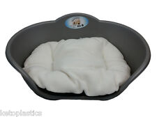 EXTRA LARGE PLASTIC SILVER GREY PET BED WITH CREAM CUSHION DOG CAT SLEEP BASKET