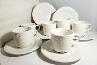 Gibson White Embossed Grapes and Roses on Lattice 6 COFFEE CUPS & SAUCERS