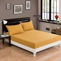 DaDa Bedding Mustard Yellow Soft 100% Cotton Fitted Sheet & Pillowcases Set