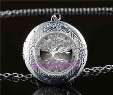 Celtic Tree Of Life Cabochon Glass Tibet Silver Locket Pendant Necklace