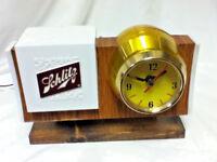 Schlitz beer sign lighted barrel clock back bar lighted bubbler motion light 65