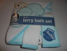 NEW GERBER 4 PIECE TERRY BATH SET BEAR/ELEPHANT LIGHT AQUA
