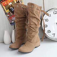 Klight style Flat Winter Biker Style Low Heel Thigh High Leg Knee Boots size new