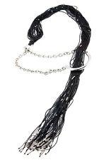 Calgaro Black Sterling Silver Thread Necklace with Asymmetrical Lariat Hoop
