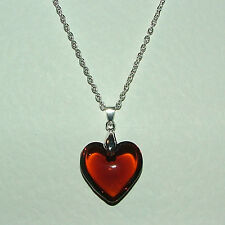 GORGEOUS BROWN GLASS HEART PENDANT on SILVER PLATED 18 INCH CHAIN