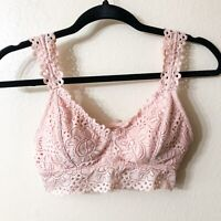 AERO Aeropostale pink lace bralette size Large women's adjustable straps