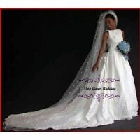 1 Tier Cathedral Royal Crystal Pearl Wedding Bridal Veil White Diamond Ivory