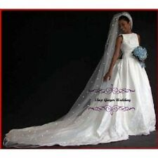 1 Tier Cathedral Royal Crystal Pearl Wedding Bridal Veil White Diamond Ivory