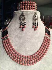 Rhodonite And Black Onyx Necklace Set
