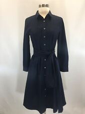 NEW JCREW Tie-waist shirtdress in cotton poplin Navy Blue Sz 4 J5358