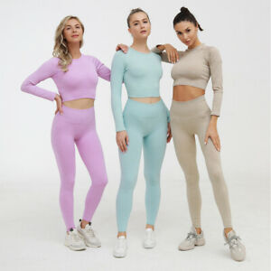 Womens ventilate Seamless Yoga Set long sleeve Crop Top High Waist Running pants