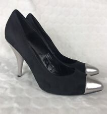 F&F Black Silver Pointy Courts 5 Stiletto High Faux Suede Work Business Pointed