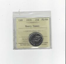 **1970**, ICCS Graded Canadian, 25 Cent, **PL-66 Heavy Cameo**