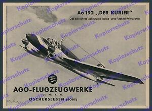 Reklame Theo Matejko AGO Flugzeug Ao 192 Der Kurier Oschersleben Luftfahrt 1939
