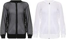 Womens Plus Mesh Bomber Jacket Ladies Long Sleeve Net Plain Zip Top 14-28