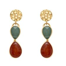 Brand New Handmade Blue Quartz & Orange Beryl 18k Gold Plated Hanging Earrings