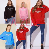 Womens Ladies Yves Saints Love Sweatshirt Slouch Pullover Sweaters Jumper Tops