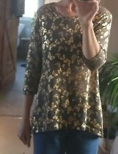 Brown jumper with gold butterfly pattern and 3/4 sleeves by Originals ~ UK 14-16