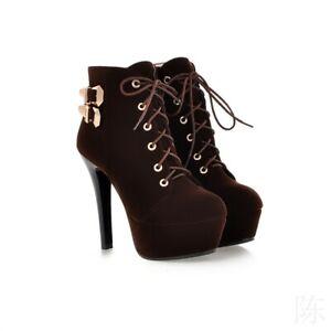 Ladies Short Boots Stiletto High Heels Platform Round Toe Retro Party Shoes Sexy