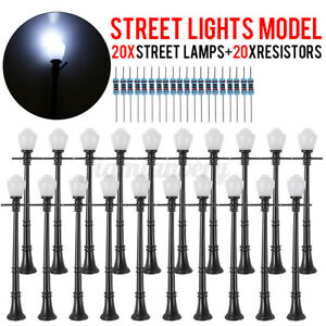 20Pcs LCX04 Model Railway Lamppost Lamps Mini O Scale LEDs Street Lights Set