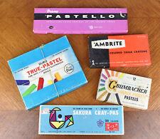 Lot Vintage Pastel Chalk and Paint Sticks Duro Prang Ambrite Grumbacher Sakura