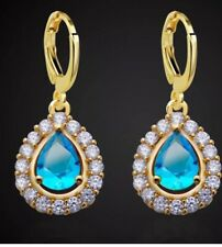 Stunning Elegant Blue Like Celyon Sapphire Diamond Crystal Gold Dangle Earrings