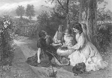PRETTY YOUNG GIRLS SISTERS EAT CHERRIES in Garden ~ Old 1876 Art Print Engraving