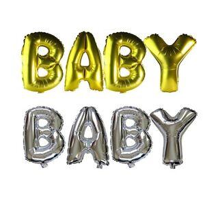 16 40 inch Gender Reveal Baby Shower Letter Floated Ballloons Gold Silver Foil
