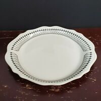 Syracuse China Vintage Black White Lace Platter Serving Plate Dining 12 x 10