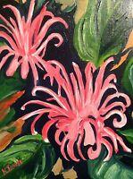Kristi Jones Brazilian Plume Flower Pink and black Oil Impressionism Painting